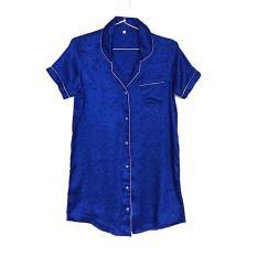 Dijual Sleepshirt Daster Mewah Blue Biru Satin Baju Tidur Piyama Cewek SSR2 Diskon