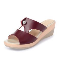 Musim panas sepatu wanita diluar ruangan Sol Tebal platform tahan air  sendal adem 34 Kulit asli fed992bfab