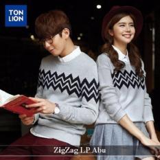 Distributor Baju Couple - Couple Lengan Panjang - zigzag lp couple abu