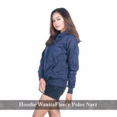 Distributor Jaket Murah - Sweater Hoodie  Online - Hoodie Wanita  Polos Navi Fleece