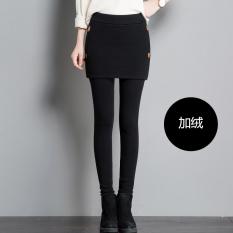 Harga Tambah Beludru Hitam Musim Dingin Kaki Kecil Rok Celana Legging 95861 Hitam Ditambah Beludru Original