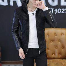 Diskon Jaket Slim Pria Gaya Korea Ditambah Beludru Hitam Ditambah Beludru Hitam Branded