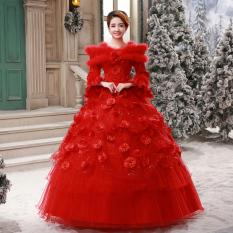 Gaun Pengantin Panjang Tanpa Bahu YUEYUE (Merah) (Merah)
