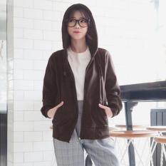 Beli Divajaya Shop Jaket Hoodie Zipper Wanita Polos Coklat Jaket Wanita