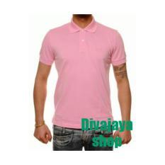 Divajaya shop-Kaos Kerah Polos Pria/wanita-Pink
