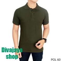 Divajaya shop-Kaos Polos Kerah Pria100% Cotton Pique - Hijau Army