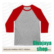 Spesifikasi Divajaya Shop T Shirt Kaos Raglan Pria Abu Misty Merah