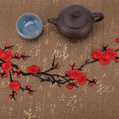 DIY Plum Blossom Flower Floral Bordiran Jahit Patch Bordir Dress/Pakaian (Hitam + Merah)-Intl