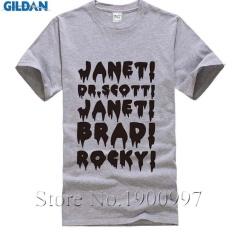 Diy T Shirt Janet, Brad, Dr. , Frank N Furter, Horror, Musical, Mens Short T-Shirt grey