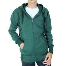 Spesifikasi Djavu Jaket Hoodie Zipper Polos Unisex Hijau Emerald Yg Baik