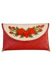 Iklan Djogja Klasik Craft Clutch Anyaman Pandan Medium Bunga Sulam Merah