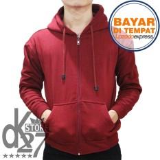 Dk Jaket Polos Hoodie Zipper Merah Marun Di Dki Jakarta