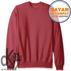Harga Dk Sweater Basic Polos Unisex Maroon Online Dki Jakarta