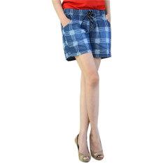 Beli Dline Jeans Hot Pants Wanita Motif Kotak Biru Online Terpercaya