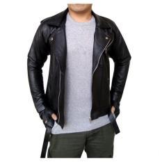 dm Jaket Ramones Kulit Domba Asli dengan Tekstur Kulit Halus dan Lembut - Black