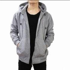 Harga Dmxs Sweater Hoodie Zipper Abu Muda Polos Bahan Fleece Tebal Original
