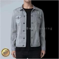 Jual Dnr New Denim Jackets Mens Light Grey Abu Muda Murah