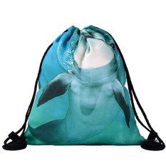 Dolphins 3D Digital Printing Bunched Bag Drawstring Backpack Shoulder 2017 Daftar Baru-Intl