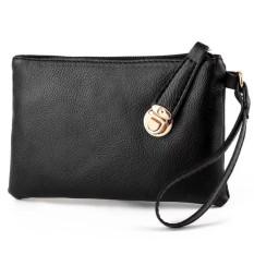 Dompet Handphone Wanita Handbag Pouch import Simpel Lock Kulit - Hitam