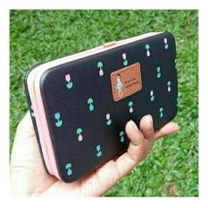 Dompet HP Jimshoney - Lady floral wallet (Black)