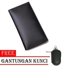 Spesifikasi Dompet Pria Kulit Asli 100 Long Jump Model Panjang Black Free Gantungan Kunci