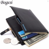 Kualitas Dompet Pria Kulit Multifungsi Casual Purse Clutch Bag Leather Wallet Short Business Fashion Import Hitam Bogesi