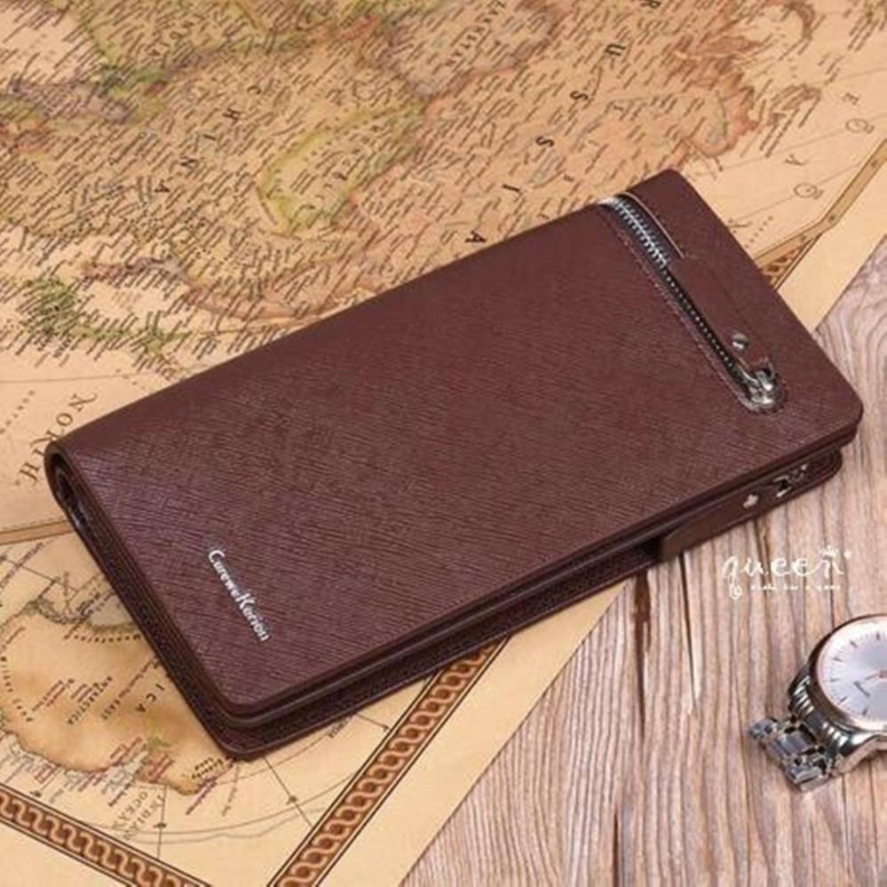 fashionable dompet sleting atas coklat