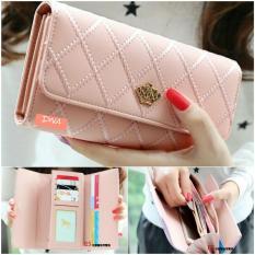 Harga Dompet Wanita Cewek Teenie Leather Import Korea Wallet Handphone Cantik Mahkota Peach Indonesia