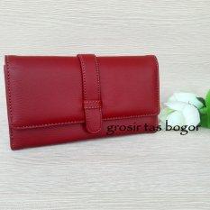 Jual Dompet Wanita Model Lipat Multifungsi Dompet Kl Merah Tua Lengkap