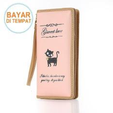 Dompet Wanita Wallet Panjang Clutch Cantik Salem Cat Tali