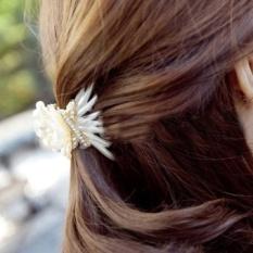 Pintu Dongguk Impor Kepala Perhiasan Kerang Tekstur Sederhana Bertatahkan Klasik Pengantin Aksesoris Rambut Jepit Rambut Tergores (Beige Kecil)-Intl
