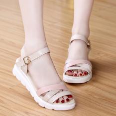 Dongpo Sederhana Pijakan Empuk Mantra Warna Datar With Sepatu Datar Sepatu Wanita With Wanita Di Sandal Musim Panas (Merah Muda warna Sprei