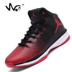 DOREMI Pasangan dari NIKE BERNAPAS Shock Boots Pria Tinggi Membantu Non-slip Her Wear Tahan Siswa Sports Casual Shoes (merah)