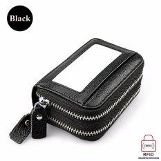 Spesifikasi Double Layer Pu Leather Dompet Wanita Organ Tas Tinggi Kapasitas Rfid Anti Magnetik Kartu Paket Dengan Zipper Black Intl Yang Bagus