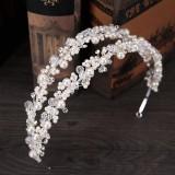 Diskon Double Row Headbands Pearl Crystal Crown Bunga Tiara Putri Bridal Rambut Perhiasan Untuk Wanita China Pesta Pernikahan Rambut