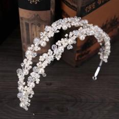 Spek Double Row Headbands Pearl Crystal Crown Bunga Tiara Putri Bridal Rambut Perhiasan Untuk Wanita China Pesta Pernikahan Rambut Tiongkok