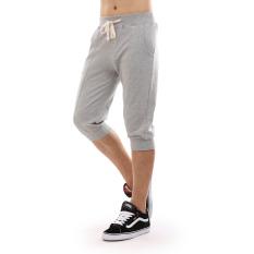 Double Star katun laki-laki musim panas bagian tipis 7 poin celana celana (Abu-abu terang)