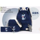 Review Tentang Doublec Fashion Backpack 3In1 Cat Stripe Navy