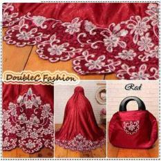 DoubleC Fashion Mukena Aplikasi Bordir Red