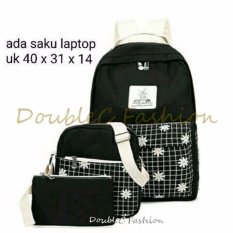 Harga Doublec Fashion Tas Backpack 3In1 Flower Black Doublec Fashion Terbaik