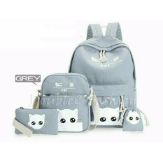 DoubleC Fashion Tas Backpack 4in1 Cat Grey