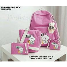 Obral Doublec Fashion Tas Backpack 4In1 Isee Pink Murah