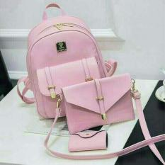 Toko Doublec Fashion Tas Backpack Raisa 3In1 Pink Doublec Fashion Indonesia