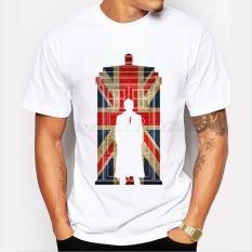 DR WHO Doctor Who Bendera INGGRIS Vintage Dicetak Hipster Lucu 003 Putih Custom Kausal Katun Mens Lengan Pendek T Shirts -Intl