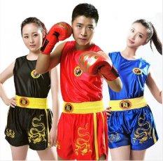 Dragon Anak-anak Anak-anak/Wanita/Mens Boxing Shorts + Tank Tops Wushu Sanda/Muay Thai/Tinju/ MMA/Taekwondo Seragam Boys Girls DPCO Beach Shorts (anak-anak/wanita/pria) -Intl
