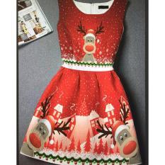 Dress Anak IMPORT Deer umur 2- 10 tahun / Baju Anak / Dress Import / Dress Natal