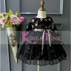 DRESS ANAK PEREMPUAN : KOREA PINK BLACK /RED DRESS(TANPA PITA DIPINGGANG)#9