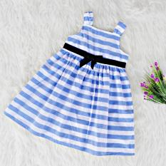 Spek Dress Baju Anak Perempuan Sleeveless Strip Biru Putih
