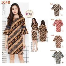 Dress Batik Modern Wanita Kantor / Dress Lengan Trompet / Kerja 794 - Dljihb