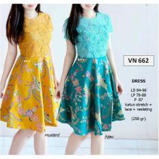 Dress Batik Wanita Modern Midi Flare Lace Stretch VN662